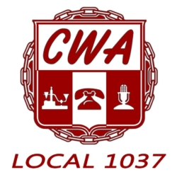 CWA local 1032 Logo showing that they've joined with more than 50 organizations to take action on climate change.