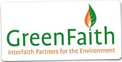 Greenfaith logo showing that they have joined with more than 50 organizations in support of action on climate change