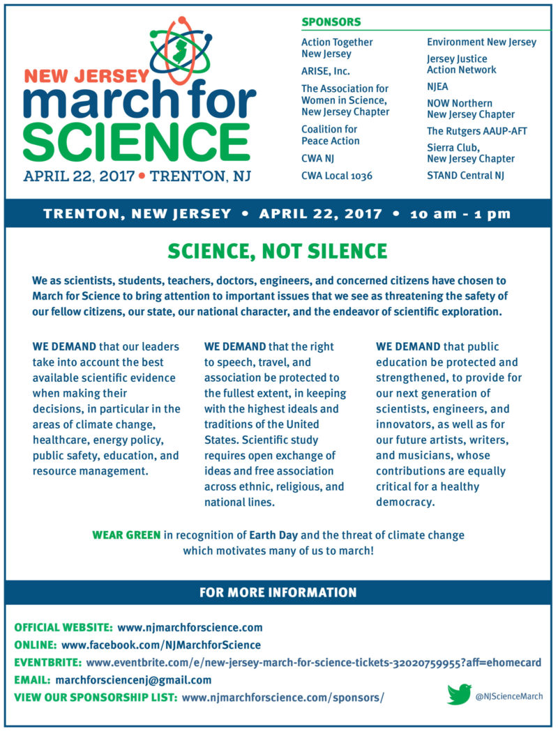 NJ March for Science April 22, 2017