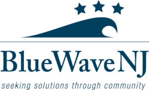 BlueWave New Jersey logo showing that they have joined with more than 50 organizations in support of action on climate change